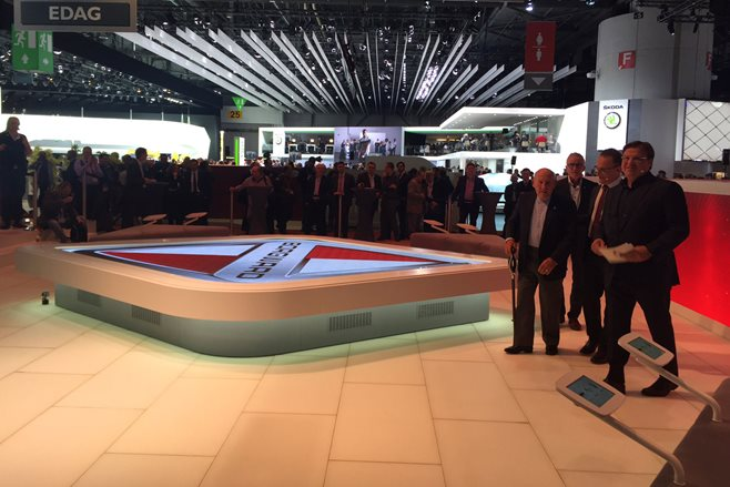 Borgward's empty stand at the 2015 Geneva Motor Show
