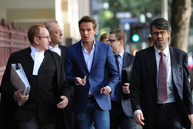 Giedo van der Garde arriving at court in Melbourne