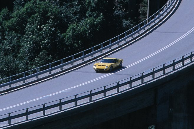 Lamborghini Muira driving on highway