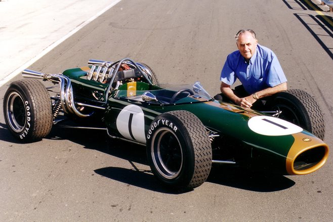 Jack Brabham with the Brabham BT23C-1 car