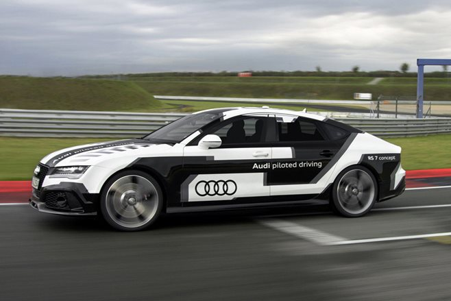 Audi RS7 Autonomous Vehicle driving around a track