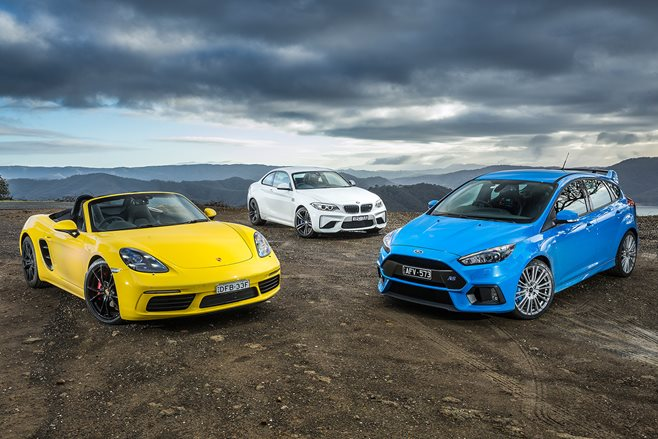 BMW M2 Pure v Ford Focus RS v Porsche 718 Boxster S
