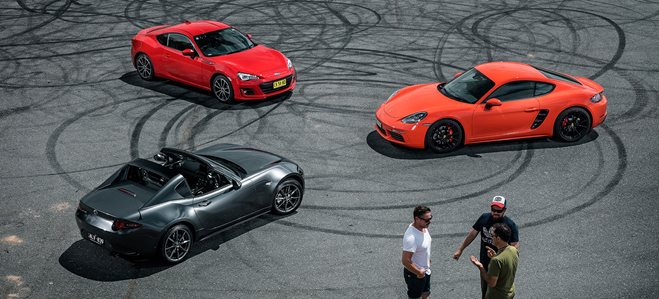 Subaru BRZ vs Mazda MX-5 RF vs Porsche Cayman S - Pure Review