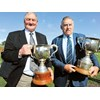Farmers and their roles in rugby Brian Lochore and Colin Meads holding the Lochore and Meads Cups