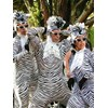 The zebras were one of  several costumed characters  entertaining in the Kidzone Parade