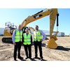 Caterpillar Asia Pacific global construction and infrastructure general manager Phil Pollock (left), Hastings Deering managing director Dean Mehmet and Hastings Deering hydraulic excavators sales manager Brett Lenz with the new Tier 4 Final Cat 323F excavator