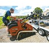 The trailer is designed to make changing the Ditch Witch SK755's attachments relatively easy.