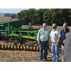 The new Diamond Harrow model and Cover Crop Feeder with (left to right) US Sales and Marketing Manager Wayne Rosenbaum, Kelly dealer and farmer George Quinn and Kelly Engineering Managing Director Shane Kelly