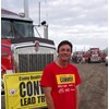 Joe Strawford of Riordan Grain Services had the honour of driving the lead truck, a Kenworth T409 SAR.