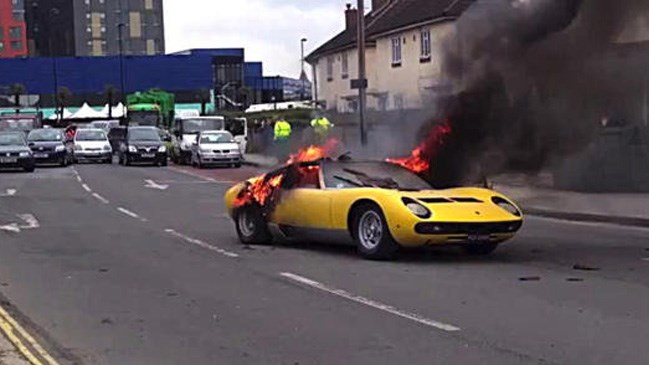 The owner of a Lamborghini Miura P400 SV was forced to watch helplessly as his classic supercar went up in flames on a London street.
