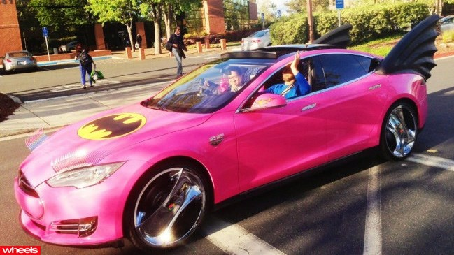 Google founder's pink Batmobile, Sergey Brin, Tesla Model S