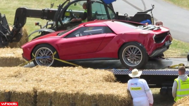 supercar crash, expensive car wreck, Goodwood Festival of Speed, 2013, Lamborghini concept, Aytron Senna's Lotus Formula 1, Porsche 962C Le Mans racer