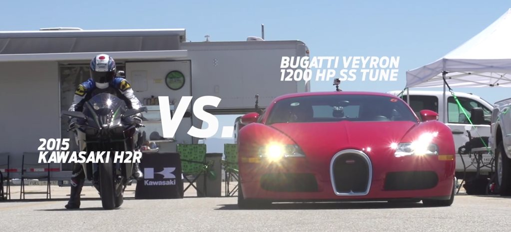 Tuned Veyron clashes with 240kW Kawasaki H2R superbike