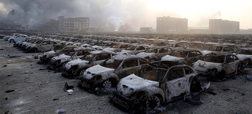 Tianjin explosion destroys 1000s of cars