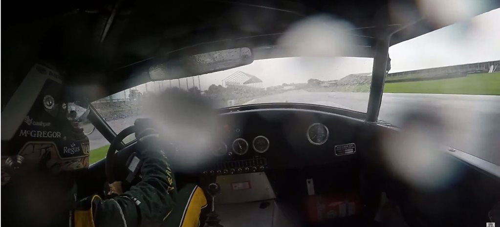 Shelby Cobra laps Goodwood in the rain