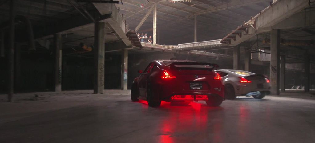 Hoonigan tears up an empty mall with pair of wild 370Zs