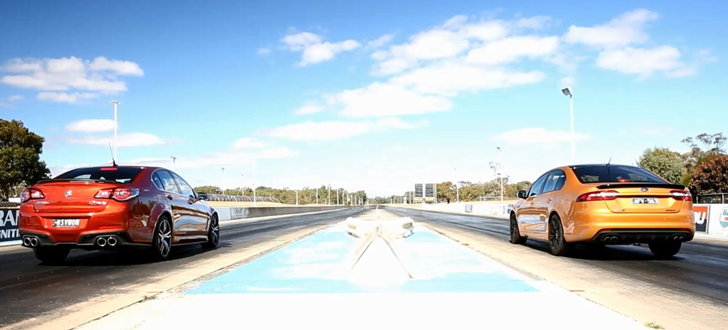 HSV Clubsport LSA vs Ford Falcon XR8 Sprint drag race