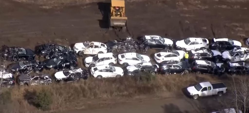 100 BMWs trashed in US train crash