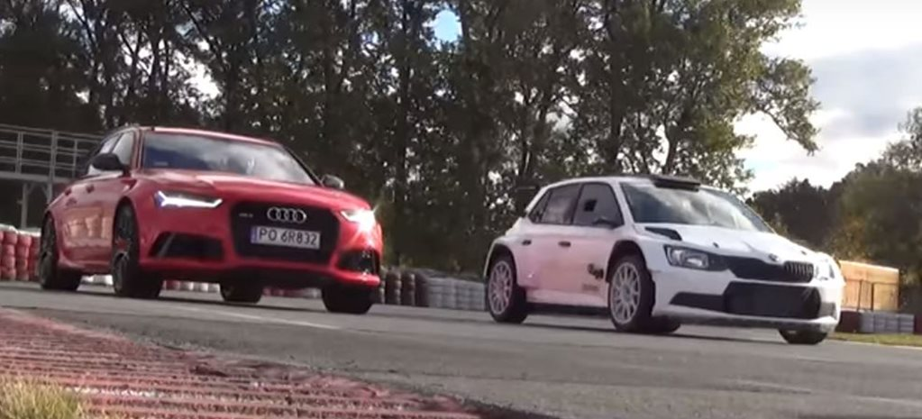 Audi RS6 vs Skoda Fabia R5 racing