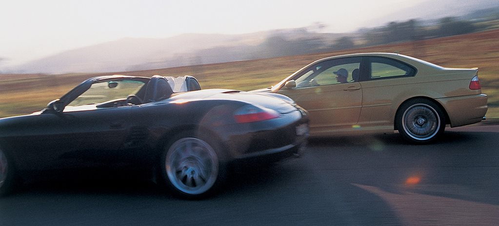 2003 BMW M3 vs 2003 Porsche Boxster S driving main
