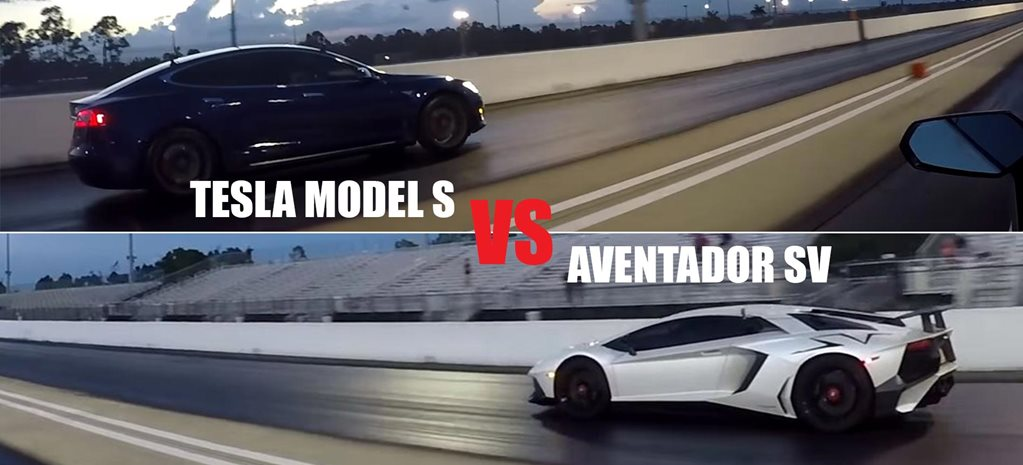 Tesla Model S P100D vs Lamborghini Aventador SV drag race MAIN