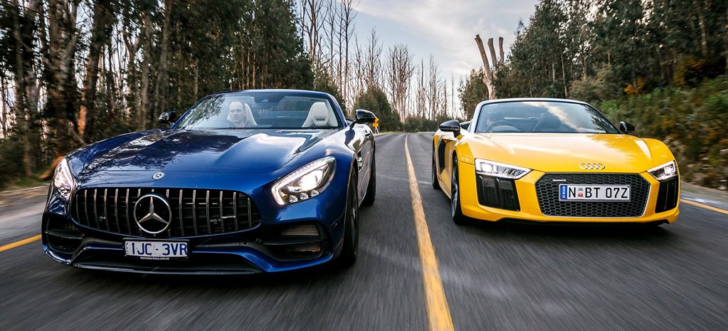 2018 Audi R8 Spyder vs AMG GT Roadster comparison review feature