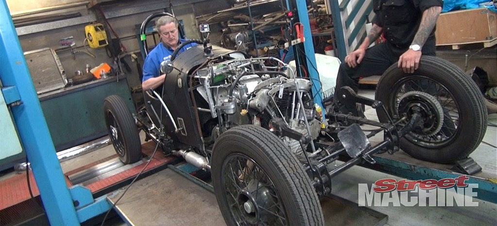 HARLEY KNUCKLEHEAD-POWERED CYCLECAR ON THE DYNO