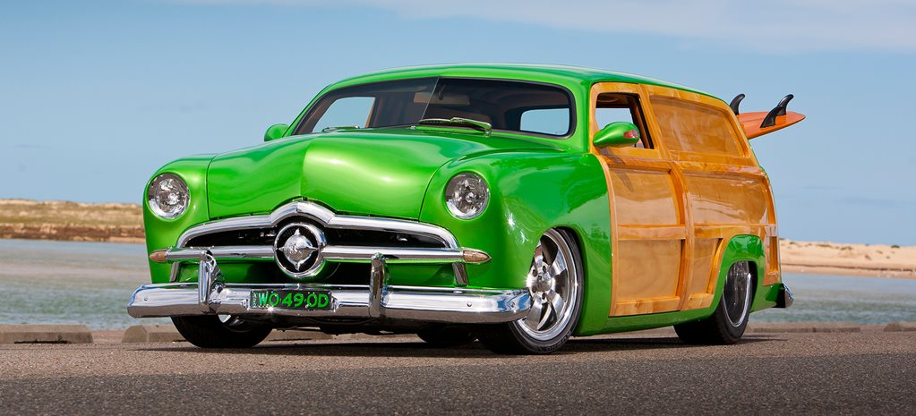 1949 FORD SINGLE SPINNER WOODY CUSTOM VAN