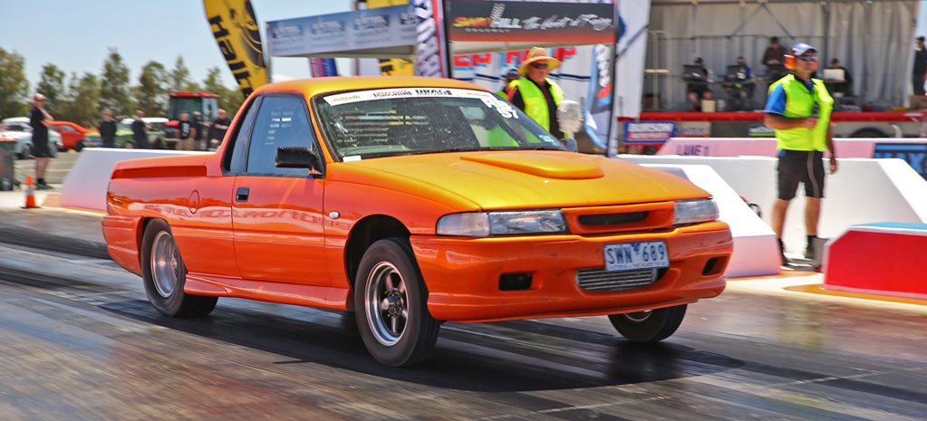 BLOWN 355CI HOLDEN V8-POWERED VP COMMODORE UTE AT DRAG CHALLENGE