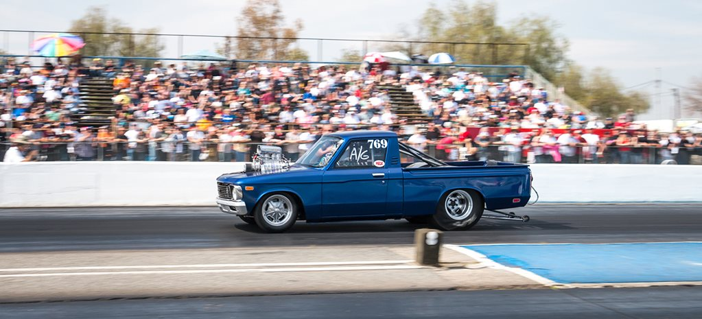 SEVEN-SECOND BLOWN SBC-POWERED 1972 CHEVY LUV AT GOOD VIBRATIONS MARCH MEET