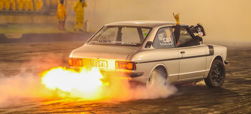 Toyota Corolla burnout ULEGAL wide