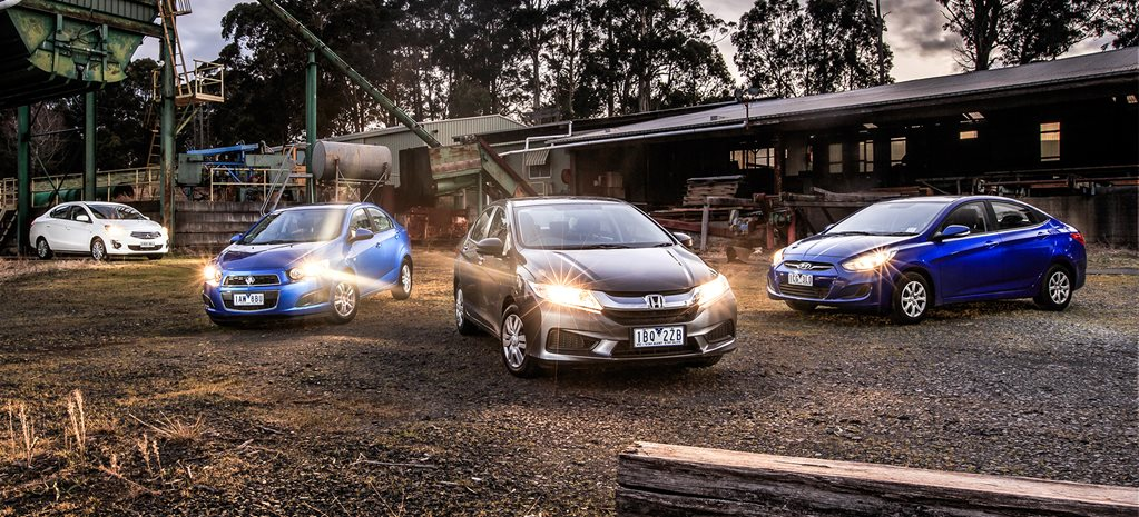 Holden Barina CD v Honda City VTi v Hyundai Accent Active v Mitsubishi Mirage ES comparison review