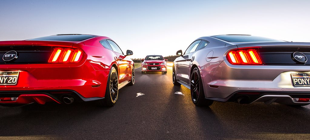 Ford Mustangs v Holden Commodore SS-V Redline comparison review