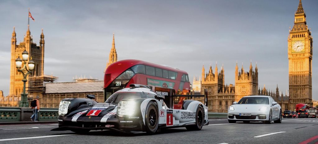Mark Webber takes Le Mans racer for a drive through London
