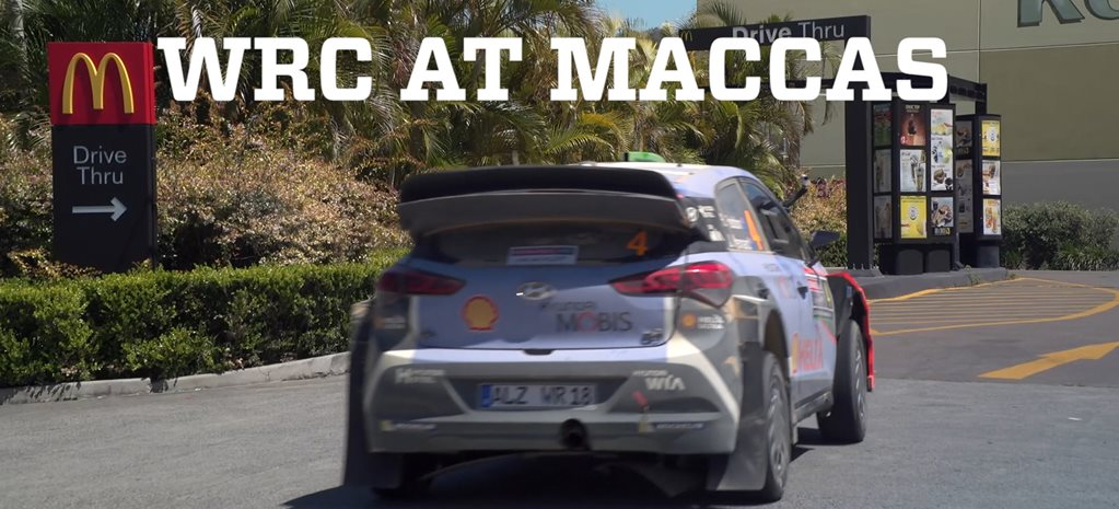 Hyundai i20 WRC car visits McDonald's drive-through