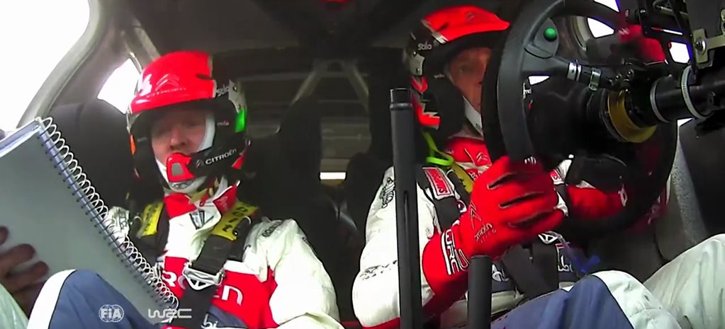 Listen to Meeke's co-driver as they spear into a parking lot, win anyway