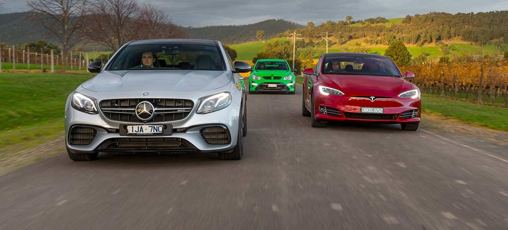 Mercedes-AMG E63 S v Tesla Model S P100D v HSV GTSR - Video