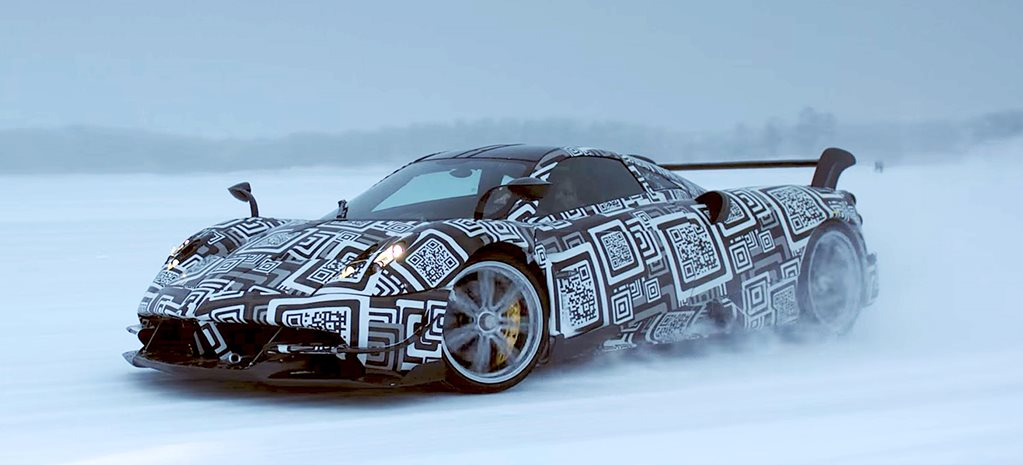 Pagani Huayra BC driving in the snow