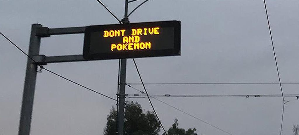 Pokeman road warning