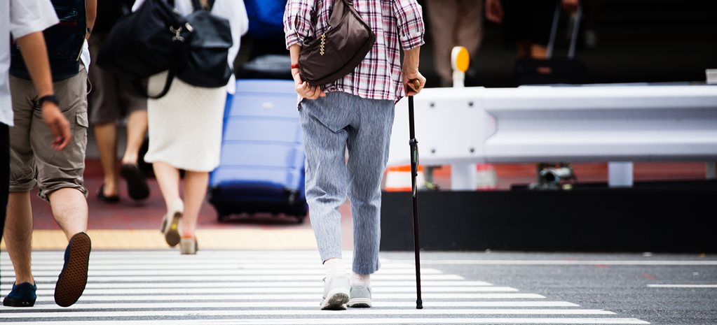 Older people crossing the road