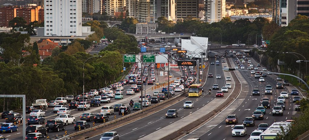 Sydney traffic jam on freeway