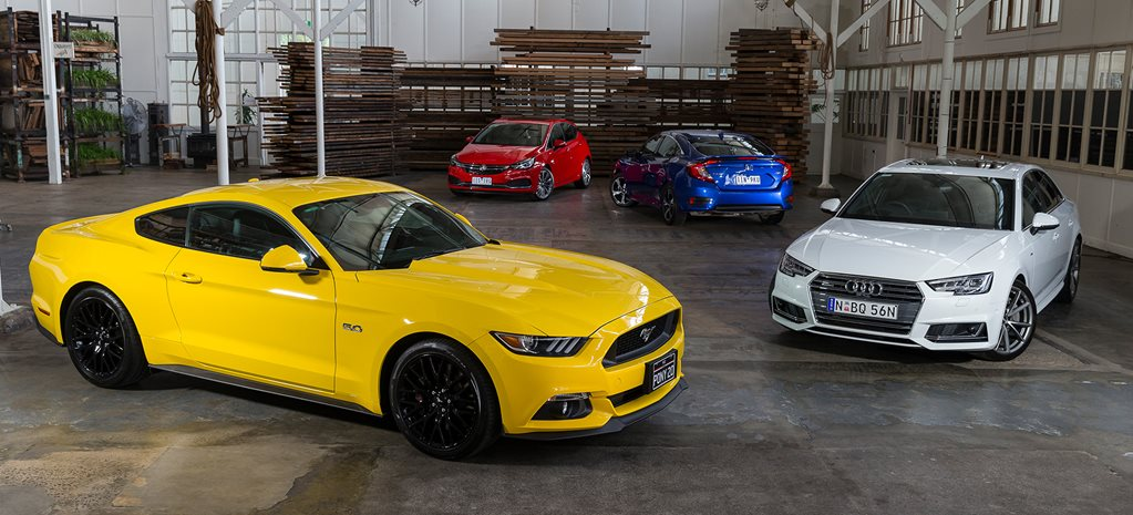 Ford Mustang, Audi A4, Honda Civic, Holden Astra