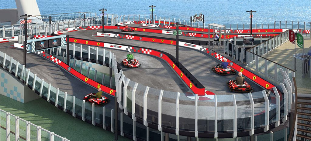 Norwegian Cruise Ship features seafaring Ferrari go-karts