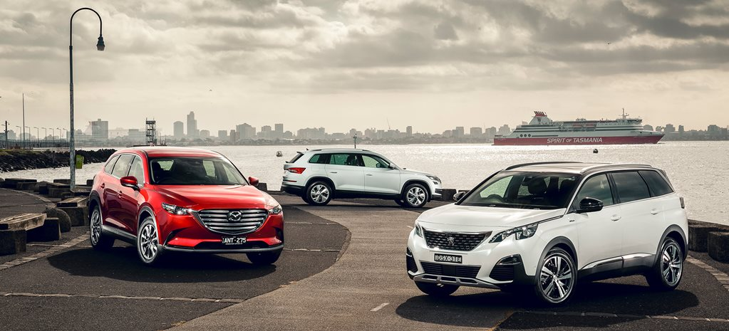 Mazda CX-9 v Skoda Kodiaq v Peugeot 5008 comparison review