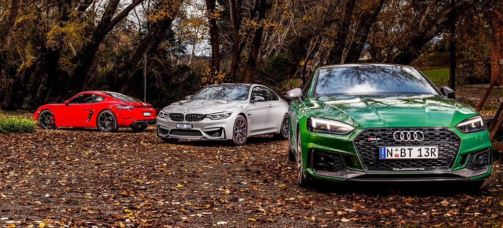2018 Audi RS5 v BMW M4 CS v Porsche 718 Cayman GTS comparison feature