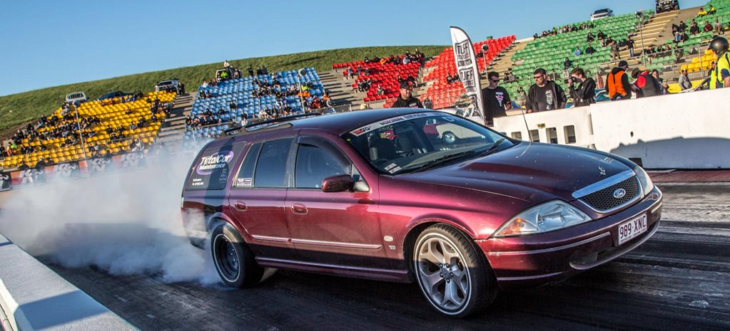 363ci Windsor-powered AU Fairmont wagon at Drag Challenge 2018