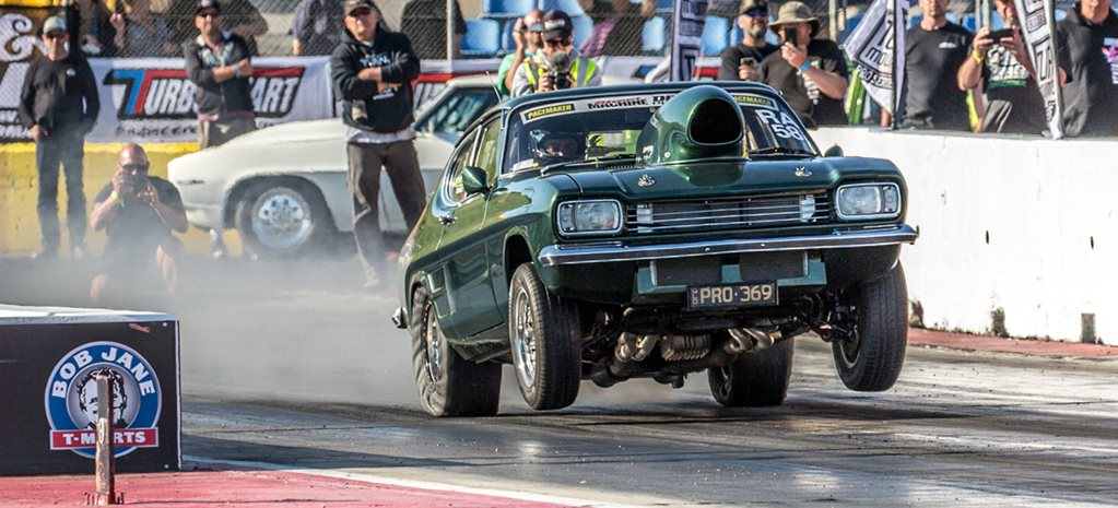Alon Vella's Ford Capri wins Pacemaker Radial Aspirated at Drag Challenge 2018