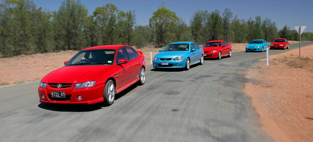 All Aussie Showdown 2005 Holden Commodore SS vs Monaro CV8 vs Commodore SV8 vs Ford Falcon XR6 Turbo vs Falcon XR8 feature