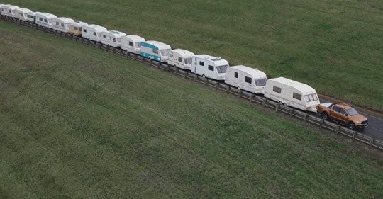 Ford Ranger tows 15 caravans. At once