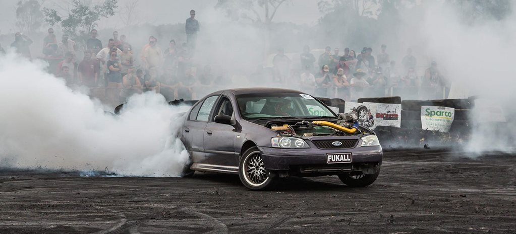 Supercharged BA Falcon burnout car
